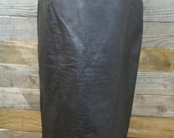Curvy 80's Vintage Black Croc Leather Pencil Skirt - Toffs