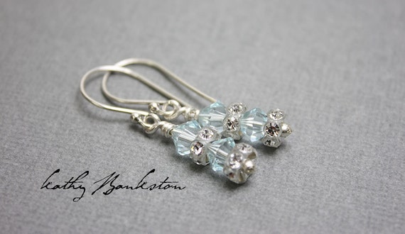 Crystal Earrings, Blue Crystal Earrings, Sparkly Earrings, Crystal Drop Earrings, Blue Earrings, Crystal Blue Earrings, Kathy Bankston