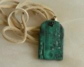 Malachite rough nugget pendant w deer skin cord necklace , exotic malachite pendant , beaded jewelry , malachite jewelry , rough malachite