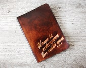 Home Is Wherever Im With You - Leather Passport Holder - Genuine Leather Passport Cover - Travel Gift Case Holder