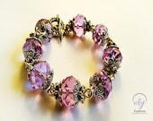 50% Discount SALE, Light Purple Swarovski Crystal Bracelet - Handmade Jewellery, One Of A Kind Design