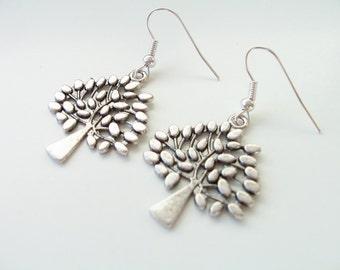 Silver metal tree charm earrings - tree jewelry - tree earrings - trees - tree charms - tree themed jewelry - silver tree earrings