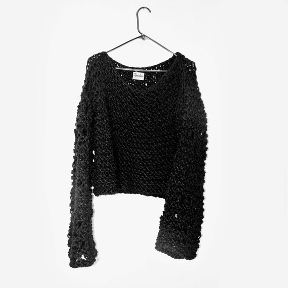 Unisex knit sweater chunky black hand knitted extra large ...