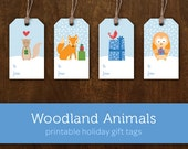Printable Gift Tags, Printable Holiday Gift Tags, Printable Christmas Tags, Printable Christmas Gift Tags, Woodland Animals Gift Tags