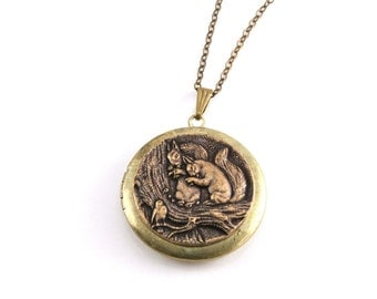 Squirrel Locket Pendant Necklace, Large Round Locket Necklace, Antiqued Brass Locket Pendant