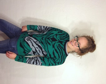 Green Striped Pattern Zebra Animal Safari Print Design Arielle Knit Womens Sweater Sweatshirt Shirt S Medium M Large L 1980s 80s