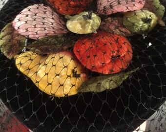"1950s 60s Hat -- Colorful Velvet ""Fruit Salad"" Hat with Veil"