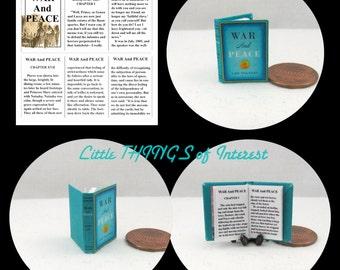Miniature Book -- WAR And PEACE READABLE Miniature Book Dollhouse 1:12 Scale Book