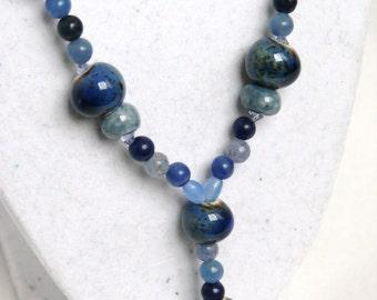 Unique Shades of Blue Aventurine Stones Jewelry Set