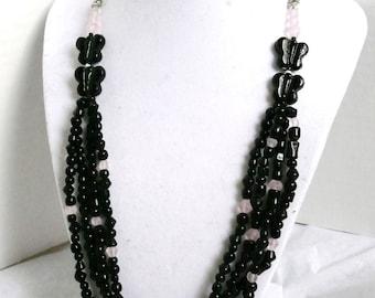 Black & Pink Butterfly Drape Necklace Jewelry Set