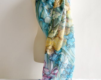 Big silk scarf - Extra long scarf - handpainted silk scarves FLOWERS - silk scarf wedding gift - XL scarf - art nouveau