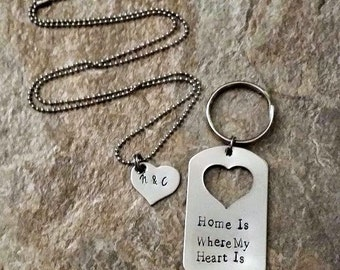 Home is Where My Heart Is Hand Stamped Couples Dogtag Set
