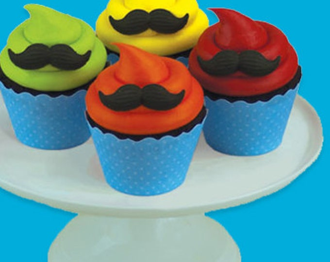 24 Mustache Assortment Molded Sugar Cake / Cupcake Topper Decorations