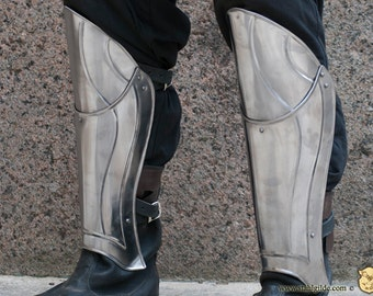 "Larp, fantasy, Elf, medieval, steel armour: greaves ""Guardian"" (two units)"