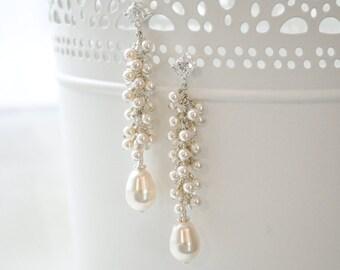 Long Pearl Bridal Earrings, Pearl Cluster Earrings, Pearl Bridal Earrings
