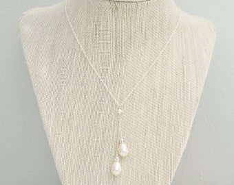 Pearl Lariat Necklace, Bridal Pendant Necklace, Sterling Silver Chain, Bridal Necklace, Wedding Necklace