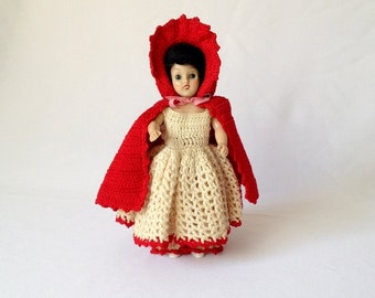 Vintage Character Doll,  Crocheted Dress and Leggings,  Little Red Hood and Cape, Storybook Doll, Vintage Toy, Collectible Doll
