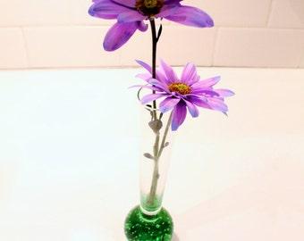 SALE 50% OFF  --    Green Glass Bud Vase, Glass Bud Vase, Clear glass bud vase, Blown Glass Bud Vase, Green Vase