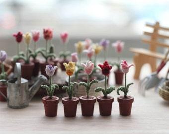 ONE Miniature crochet flower tulip spring tulips fairy garden collectible miniature art potted flowers dollhouse miniature fellow gift