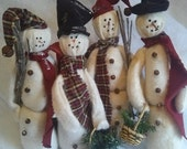 Thin, Skinny Batting Snowmen, Fleece Winter Snowman, 4 Primitive Frosty Christmas Dolls, Warm And Natural