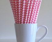 Pink Chevron Paper Straws Party Supplies Party Decor Bar Cart Accessories Cake Pop Sticks Mason Jar Straws