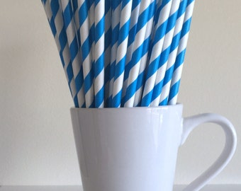Blue Striped Paper Straws Party Supplies Party Decor Bar Cart Cake Pop Sticks Mason Jar Straws  Party Graduation