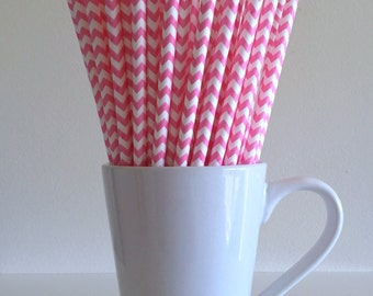 Pink Chevron Paper Straws Party Supplies Party Decor Bar Cart Cake Pop Sticks Mason Jar Straws Graduation