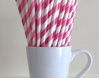 Dark Pink and Bubblegum Pink Paper Straws Pink Striped Straws Party Supplies Decor Bar Cart Cake Pop Sticks Mason Jar Straws Graduation