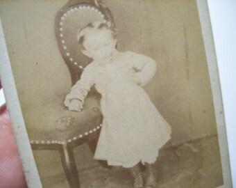 Baby photo little girl in dress vintage Paper Ephemera Cabinet Portrait Old Victorian Antique CDV Collectibles