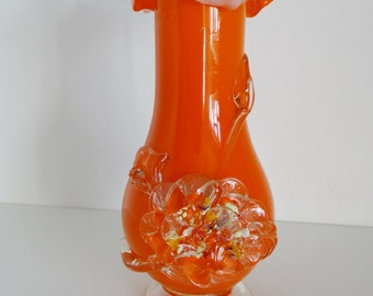 Vintage Glass Vase with Ruffle Top and Applied Rosette Decorative Tangerine Orange Blown Glass