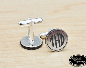 Personalized Monogram Cuff Links - Engraved Men's Monogram Cufflinks - Groomsmen Gift - Two Tone Cuff Links - CF-05