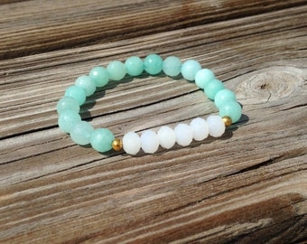 The Cora Bracelet - Faceted Amazonite & White Quartz Stretch Bracelet (Perfect for Stacking and Layering)