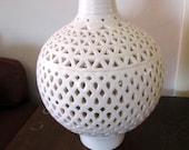 Vintage Ceramic Pendant Lamp White Globe w/ Cutouts
