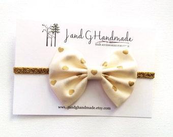 Baby/Child/Newborn/Girl's Metallic Gold Hearts on Cream Fabric Hair Bow Headband OR Hair Clip, Child Photo Prop