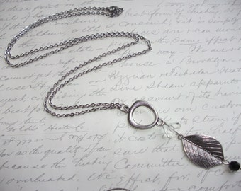 Long leaf charm necklace with crystal