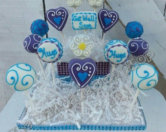 Get Well Soon and Hugs Cake Pops WITH display - Get Well Gift - Get Well Soon Cake Pops- 15 Cake Pops - MaD Cake Pop Shop - Cake pop stand