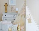 PINK with Gold Glamour Polka Dot, Canvas, Teepee, Play Tent, Play House, Nursery, Teepee Tent, Kids Teepee, Wigwam, Indoor