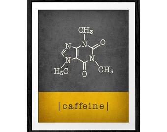 Caffeine print coffee red print red coffee red poster caffeine molecule caffeine poster red kitchen print red kitchen decor kitchen wall art