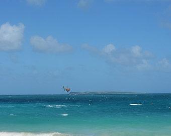 Orient Beach St Martin kiteboarder, saint martin, sint maarten, st martin, st maarten, Saint Martin Print, Saint Martin Decor, Ocean Decor