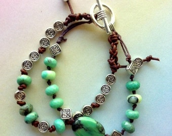 Peruvian Opals, Tibetan Silver and Leather Cord Knotted Bracelets - Custom Order