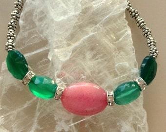 Rose Pink Rhodochrosite, Green Chalcedony, and Tibetan Silver Bracelet - Elegant