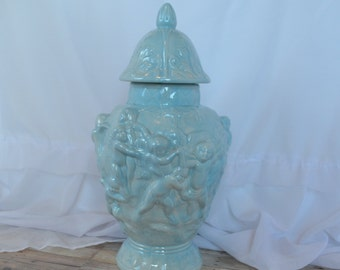 Light baby blue ceramic cherub/angel urn