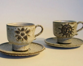 Hannie Mein 2 ceramic cups and saucers - Vintage Dutch pottery