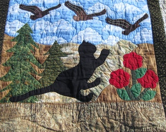 WALL HANGING ART Quilt.  Cat,Birds,Flowers,Trees.Hand Appliqued,Hand quilted.One of a kind. High quality fabrics.Free Shipping,Canada & U S.