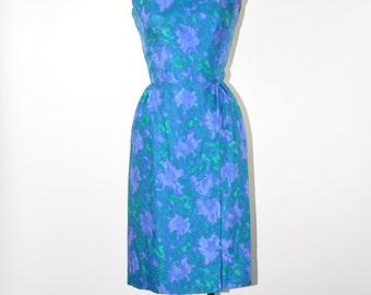 50s silk sheath dress / teal watercolor floral dress / 1950s blue green wiggle dress