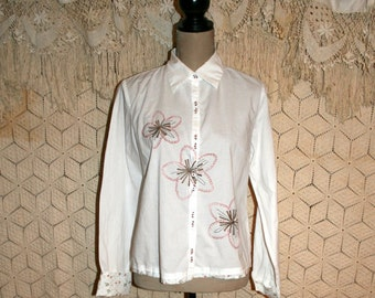 White Cotton Blouse Long Sleeve Button Up Shirt Embroidered Top White Shirt Hippie Clothes White Blouse Cotton Top Medium Womens Clothing
