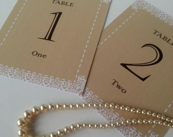 Printable Table Numbers Cards Wedding Reception Idea - Rustic Lace - PDF Instant Download File - Numbers 1 to 44