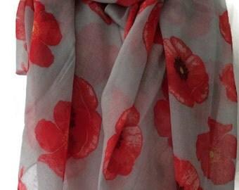 Grey Scarf Red Poppy Print, Poppies Floral Wrap, Ladies Flowers Pattern Shawl