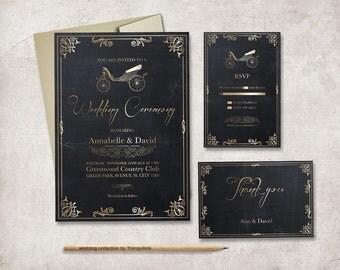 Gold Wedding Invitation Printable, Art Deco Wedding Invitation Suite, Chalkboard Wedding Invitation, Gold and Black Wedding Invite