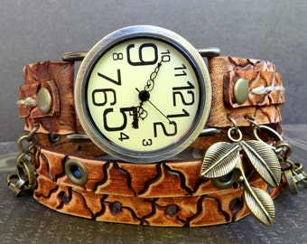 Leather wrap around watch,  womens watch, Bracelet Watch, Chain watch, Unique Accessories,